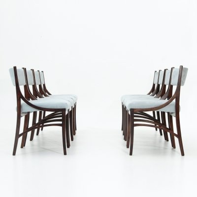 Set of 8 chairs in azure velvet by Ico Parisi for Spartaco Brugnoli, 1950s