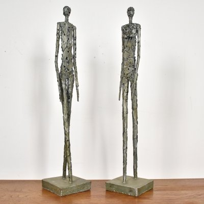 Pair of brutalist metal sculptures, 1970s