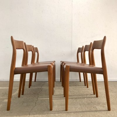 Set of 6 Niels Otto Møller 'Model 77' dining chairs with leather upholstery
