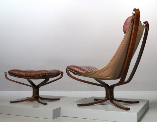 Sigurd Ressell brown leather Falcon Chair + Ottoman for Vatne Møbler, 1974