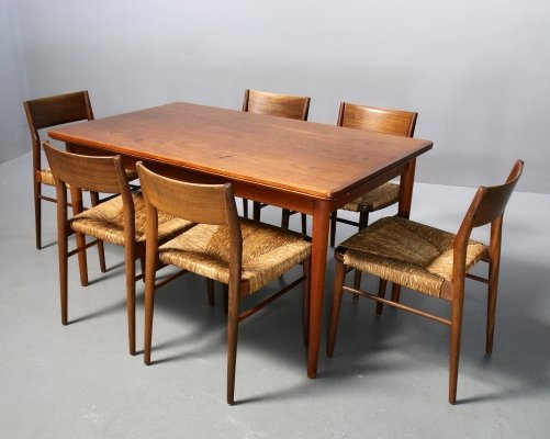 6 chairs Model 351 + Table by Hartmut Lohmeyer for Wilkhahn Germany