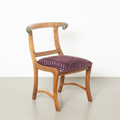Indian Yoke-back dowry chair with Rams heads