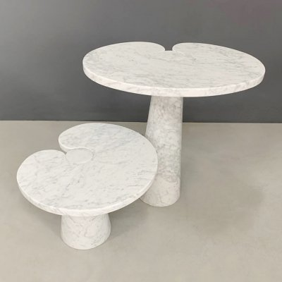 White marble Eros series Side tables by Angelo Mangiarotti for Skipper, Labeled 1970s