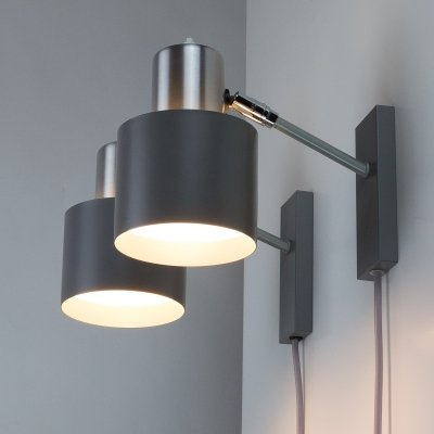 Pair of Grey Alfa Wall Lights by Jo Hammerborg for Fog & Mørup, Denmark 1960s