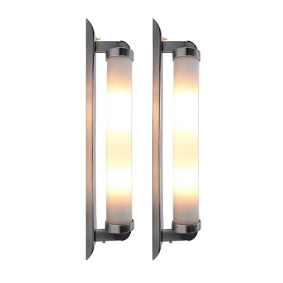 Set of 2 Large Tubular Bauhaus Wall Lights or Sconces, 1930s