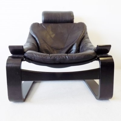 Black leather 'Kroken' lounge chair by Ake Fribytter for Nelo Möbel, 1970s