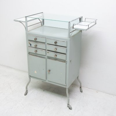 Vintage metal apothecary cabinet on wheels, 1960's