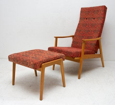 Adjustable Armchair with footrest from TON, 1960s