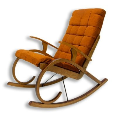 Mid Century Bentwood rocking chair, Czechoslovakia 1960s