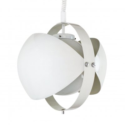 White Eclipse pull down pendant by Dijkstra Lampen, 1970s