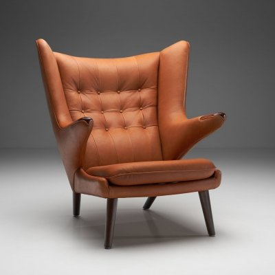 Hans Wegner 'Papa Bear' in Cognac Leather, Denmark 1951