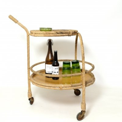 Rope & fiber glass serving trolley, 1950s