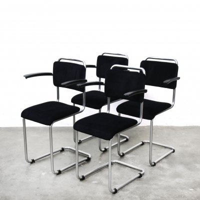 Set of 4 Model 201 dining chairs by W. Gispen for Gispen, 1930s
