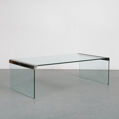 Luxurious glass coffee table by Pierangelo Galotti, Italy 1970s