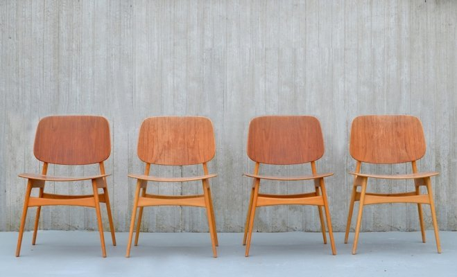 Set of 4 Borge Mogensen shell chairs '155' by Soborg Mobelfabrik, 1950s