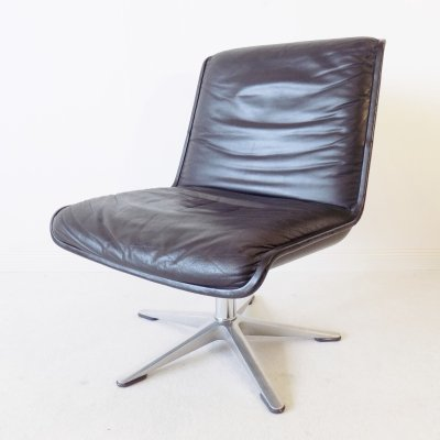 Wilkhahn Delta black leather lounge chair by Delta Design, 1970s