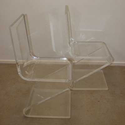 Plexiglass or Lucite Z model Chairs, 1980s