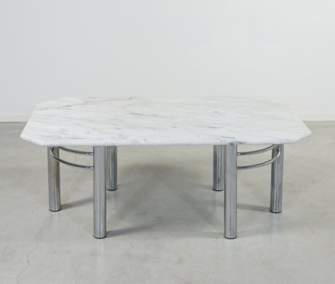 Modern Italian white marble coffee table, 1970s
