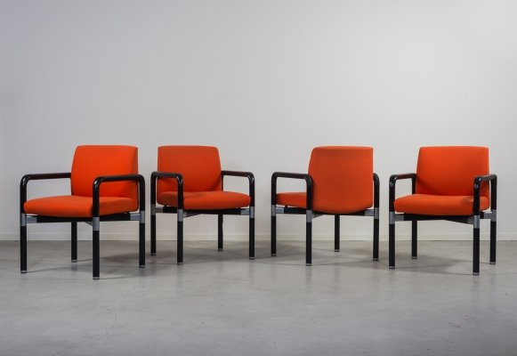 Set of 4 colorful COR design armchairs, 1970's
