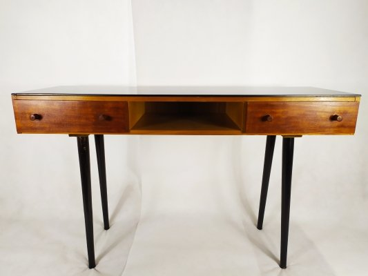 Vintage console with black opaxit glass by Mojmir Pozar for UP Zavody