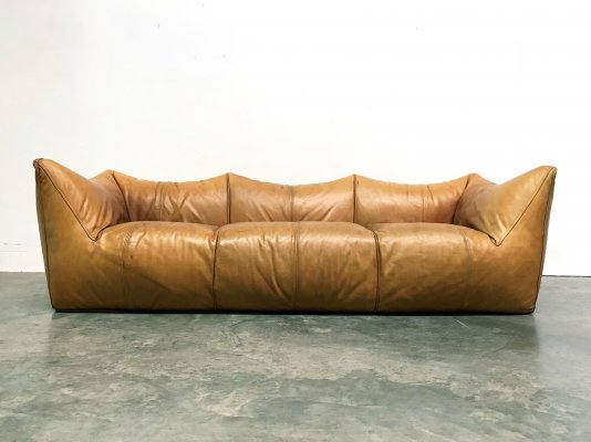 Cognac leather Le Bambole sofa by Mario Bellini for B&B Italia, 1970s