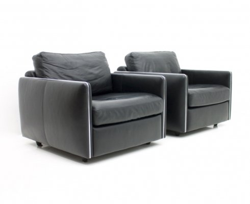 Pair of Black Leather Lounge Chairs, 1970s