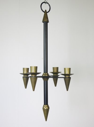 Brass & metal pendant candle stick, ca 1960