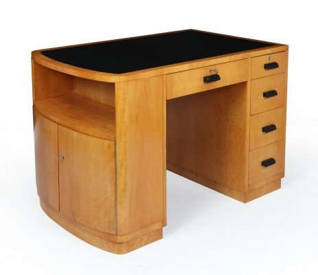 Art Deco Desk in Satin Birch with Leather top