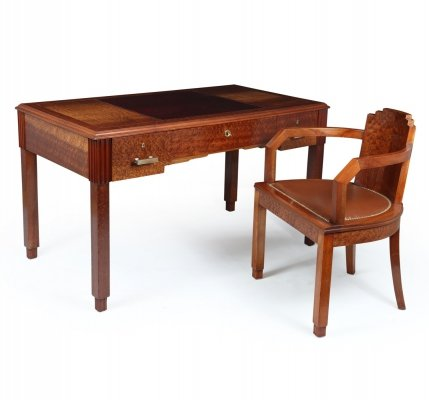 French Art Deco Desk & Chair, 1930s
