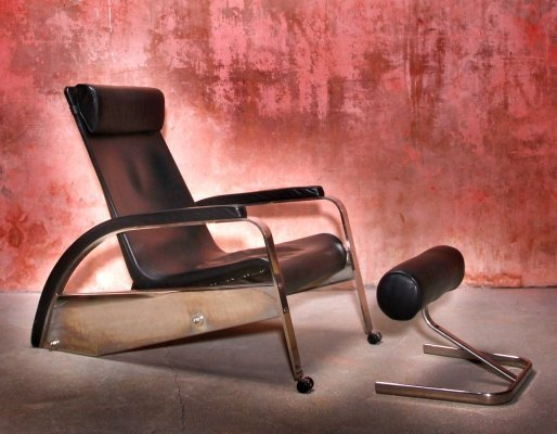 Jean Prouvé for Tecta Grand Repos Relax Lounge Chair with original ottoman, 1980s