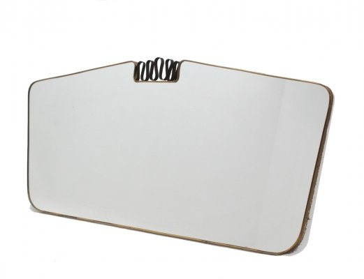 Italian design mid century large brass mirror, 1950