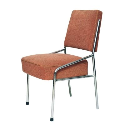 Chrome & peach fabric Bauhaus chair, Czechoslovakia 1960s