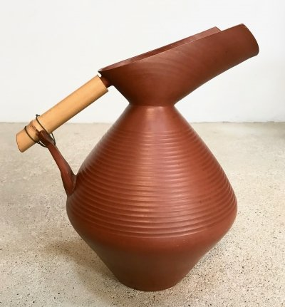 Large Studio Pottery Terracotta Jug Vase with Bamboo Handle, 1950s