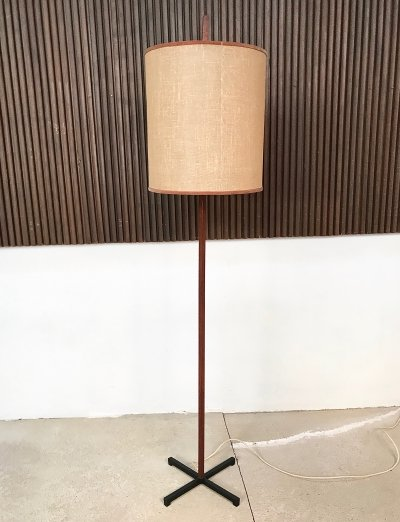 Mid-Century German Teak & Steel Floor Lamp, 1960s