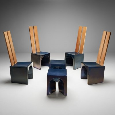 Tom Bruinsma Glazed Chairs & Tables for Mobach Ceramics, Netherlands ca 1980s