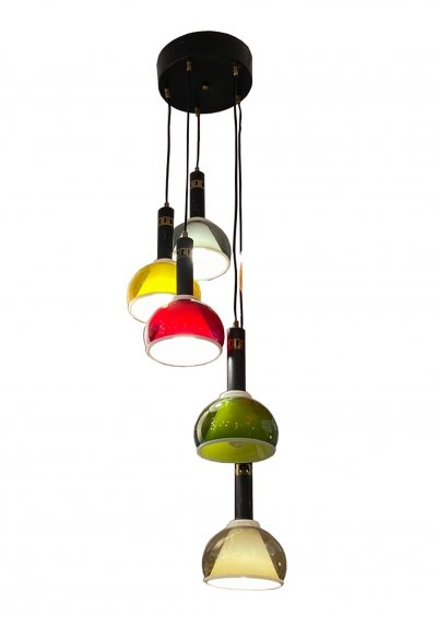 5-Light Perspex Chandelier by Stilux, 1960s
