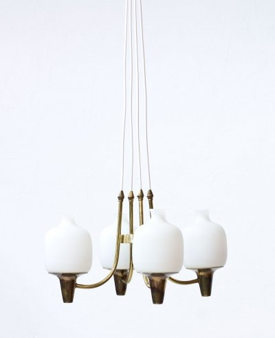 Swedish Pendant in Brass & Opaline Glass, 1950s