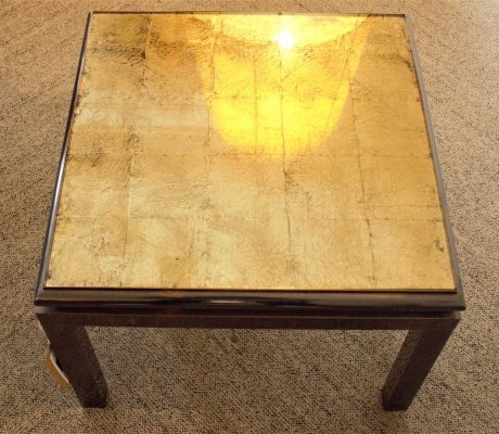 Pair of Metal Side tables with Gold Leaf & Glass Top, Italy 1960's