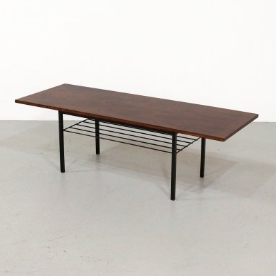 Mid Century rosewood coffee table with metal base, 1960s