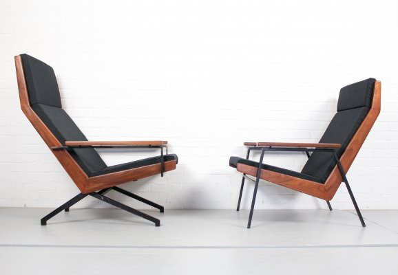 Set of Two Teak Rob Parry Lotus Armchairs for Gelderland, Dutch Design 1950s