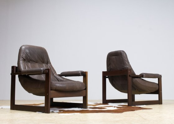 Pair of Brown Leather Lounge Chairs by Percival Lafer, 1960s