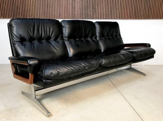Leather 3-Seater King Sofa by André Vandenbeuck for Strässle, 1960s