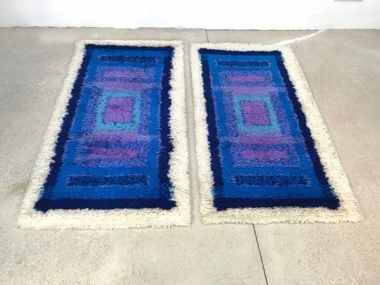 Pair of German Abstract Graphic Wool Rugs by Gilde, 1960s