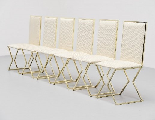 Romeo Rega dining chairs with graphic upholstery, Italy 1970