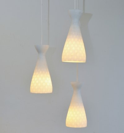 Ibiza Triplet hanging lamp by Aloys Gangkofner for Peill & Putzler, 1960s