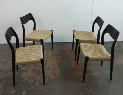 Set of 4 Model 77 dining chairs by Niels O. Møller for JL Møllers Møbelfabrik, 1960s