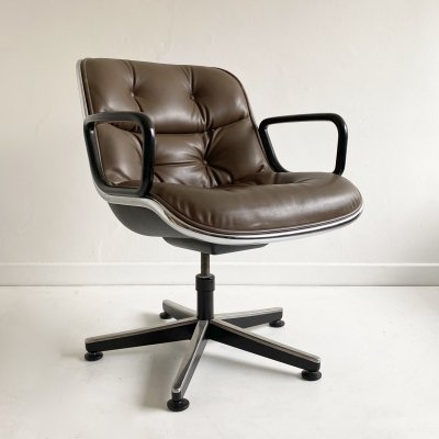 Mid Century Leather Swivel Chair by Charles Pollock for Knoll