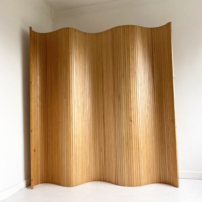 Vintage Pine Tambour Room Divider / Screen, 1980s