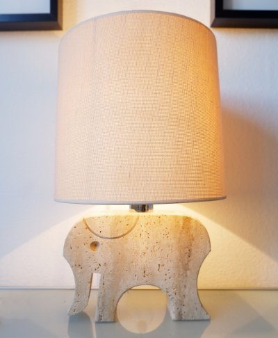 Fratelli Mannelli Travertine Elephant Table Lamp, Italy 1970s