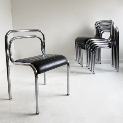 6 Leather & Tubular Chrome 'T5' Dining Chairs by Rodney Kinsman, c.1960